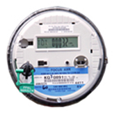 Smart meters have digital displays with a blue sticker on the face of the meter.